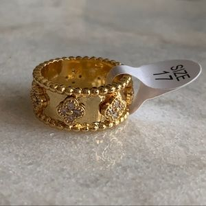 Gold Plated ✨ CZ Clover 4 Leaf Ring Size 7